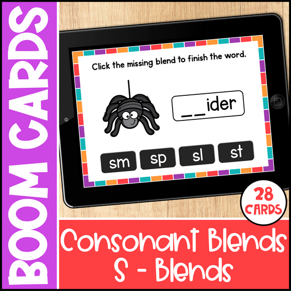 Consonant Blends Boom Cards - S Blends