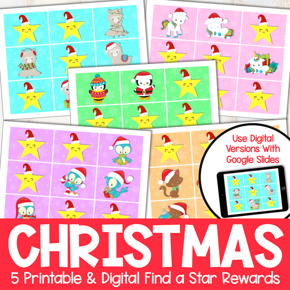 Christmas Find a Star Rewards - Printable and Digital (for Google Slides)