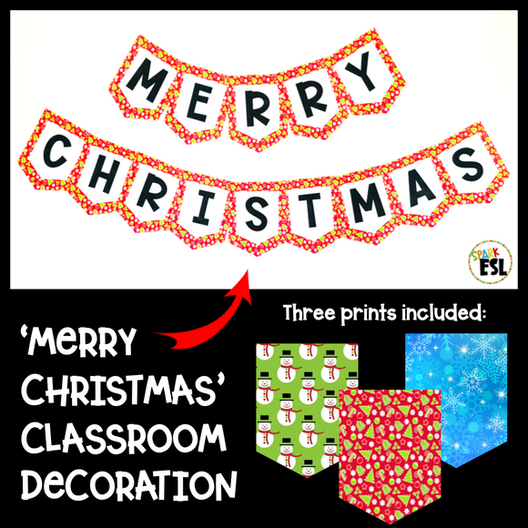 'Merry Christmas' Classroom Decoration