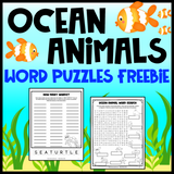 Ocean Animals Word Puzzles Freebie