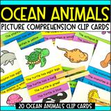 Ocean Animals Comprehension Clip Cards