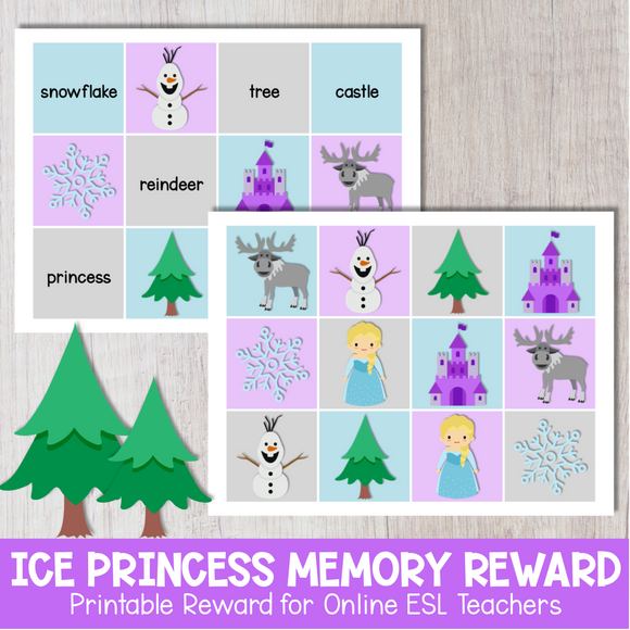 Ice Princess Memory Game Reward