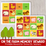 On The Farm Memory Game Reward