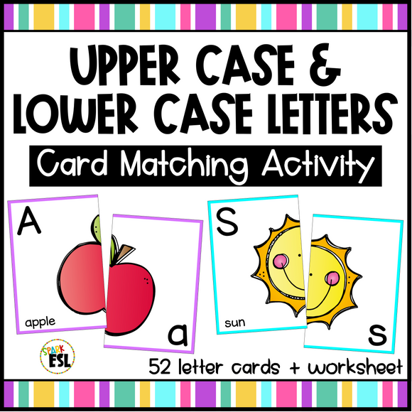 Upper and Lower Case Letters Matching Cards