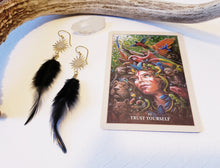 Load image into Gallery viewer, BLACK FEATHER | GOLD SUNBURST | BOHO EARRINGS