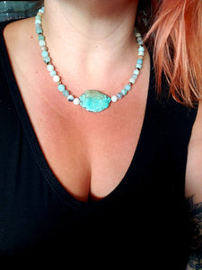 TURQUOISE | PYRITE + AMAZONITE | Beaded Necklace