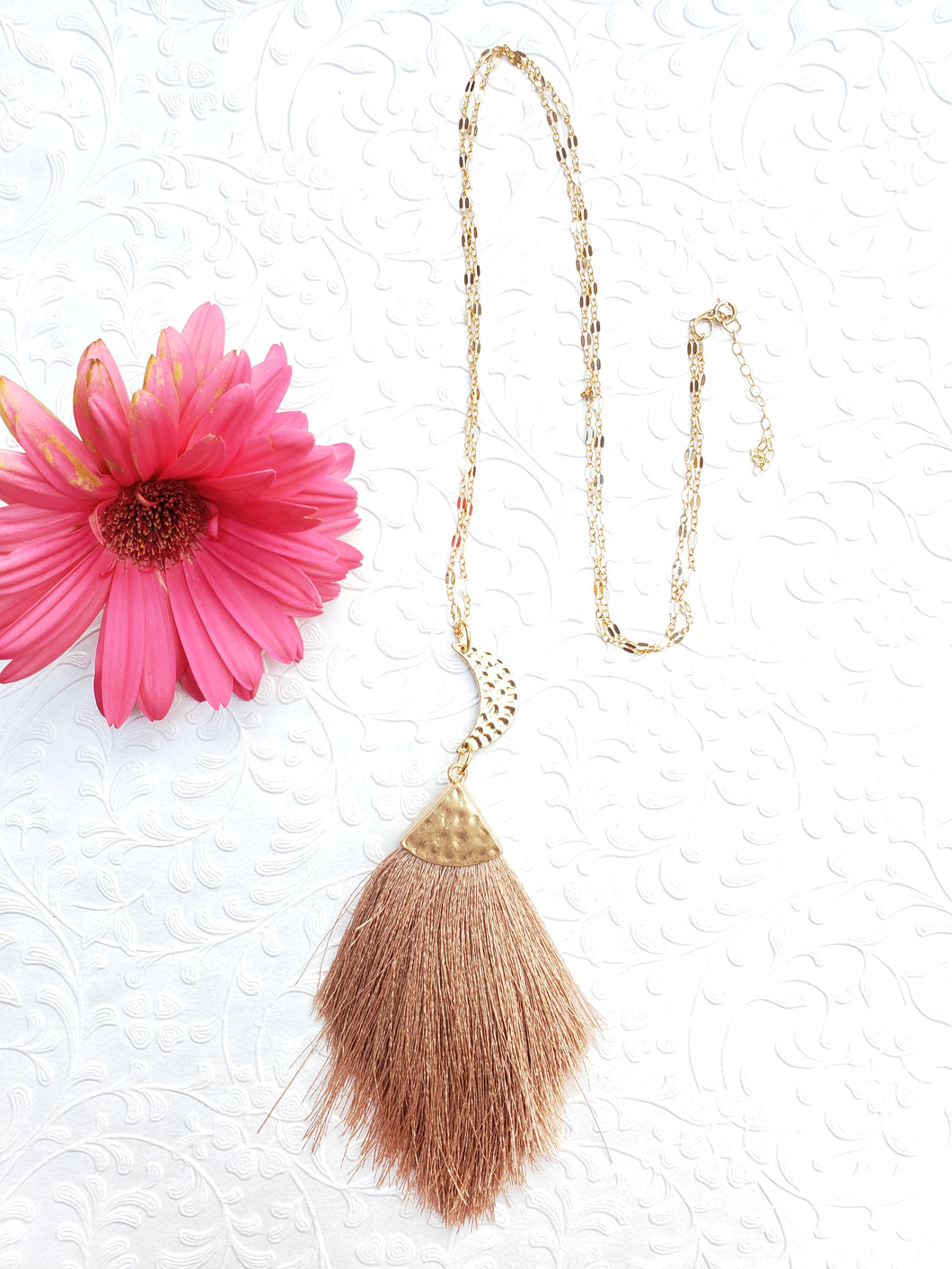HAMMERED CRESCENT MOON | Tassel Necklace | New Vibin' High Collection