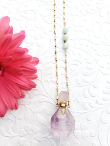 AMETHYST + MOONSTONE | Oil Bottle Necklace | New Vibin' High Collection