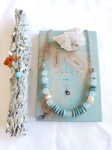 RECYCLED SEA GLASS + HEISHI SHELL | Necklace