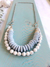 Load image into Gallery viewer, RECYCLED GLASS | SEASHELL + HOWLITE Stone | Necklace | New Set