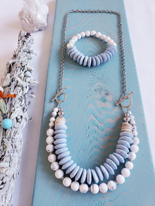 RECYCLED GLASS | SEASHELL + HOWLITE Stone | Necklace | New Set