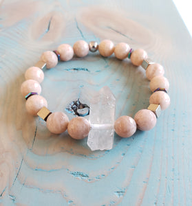 PEACH MOONSTONE | QUARTZ POINT |  Bracelet