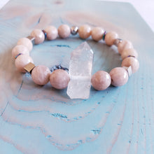Load image into Gallery viewer, PEACH MOONSTONE | QUARTZ POINT |  Bracelet