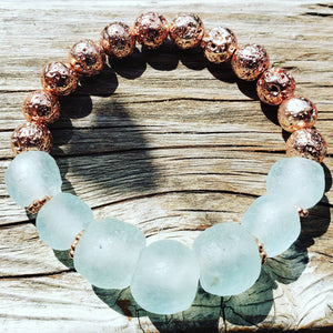 RECYCLED SEA GLASS + LAVA | Boho Beach Bracelets