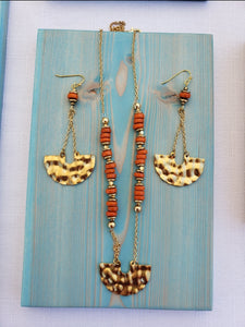 HAMMERED GEOMETRIC BRASS | ORANGE RECYCLED GLASS BEAD | NECKLACE + EARRINGS | JEWELRY SET