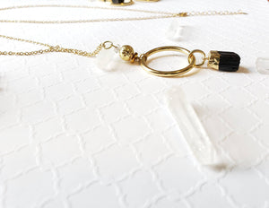 Black tourmaline,  diffuser gold layering necklace can be worn long or short. Pair it with these bold statement earrings or everyday studs - Hvnly Boutique