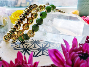 Sold dm to custom order yours-AAA Green Jade Hematite Lava Diffuser bracelet 18k gold Anchor Buddha Charm Gift gemstone bracelet stack gift - Hvnly Boutique