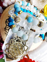Load image into Gallery viewer, Sold dm for custom work- Larimar Quartz Auquamarine Clear Quartz Turquoise Lava Diffuser stack 18k gold Bali Swarovski flower of life mala - Hvnly Boutique