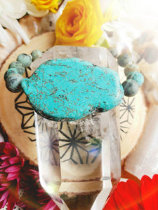 SOLD dm for your own CUSTOM African Turquoise Howlite Healing Gemstone Bracelet Beach Summer accessories Balance Prosperity Purpose Soul - Hvnly Boutique