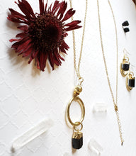 Load image into Gallery viewer, Black tourmaline,  diffuser gold layering necklace can be worn long or short. Pair it with these bold statement earrings or everyday studs - Hvnly Boutique
