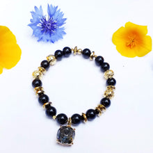 Load image into Gallery viewer, Sold- dm for custom work-O N Y X  |  J E T  |  G O L D  | Lava stone swarovski crystal charm. grey, black, gold gemstone healing protection - Hvnly Boutique