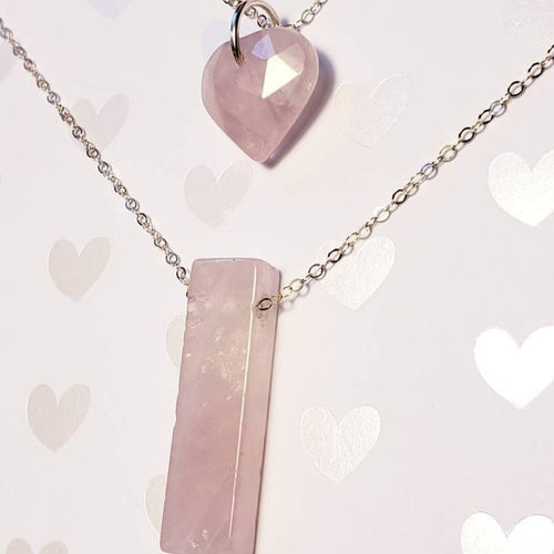 Sold dm for customs Rose Quartz Love + Gratitude Silver Layering Necklace set. Pink carved heart crystal unconditional love geo  minimalist - Hvnly Boutique