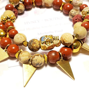 Badass Boho Gold Skull + Jasper stackable gemstone bracelet set. Unique geometric triangle cut brass healing crystals gift for her yogi love - Hvnly Boutique