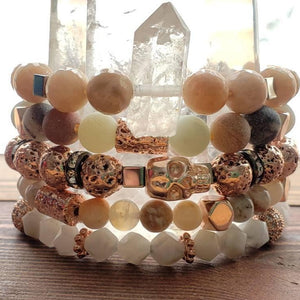 D R E A M I N G of peaches + beaches Summer goddess gemstone bracelet stack of 5 bohemian gypsy gift for her wife daughter love rose gold - Hvnly Boutique