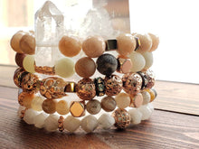 Load image into Gallery viewer, D R E A M I N G of peaches + beaches Summer goddess gemstone bracelet stack of 5 bohemian gypsy gift for her wife daughter love rose gold - Hvnly Boutique