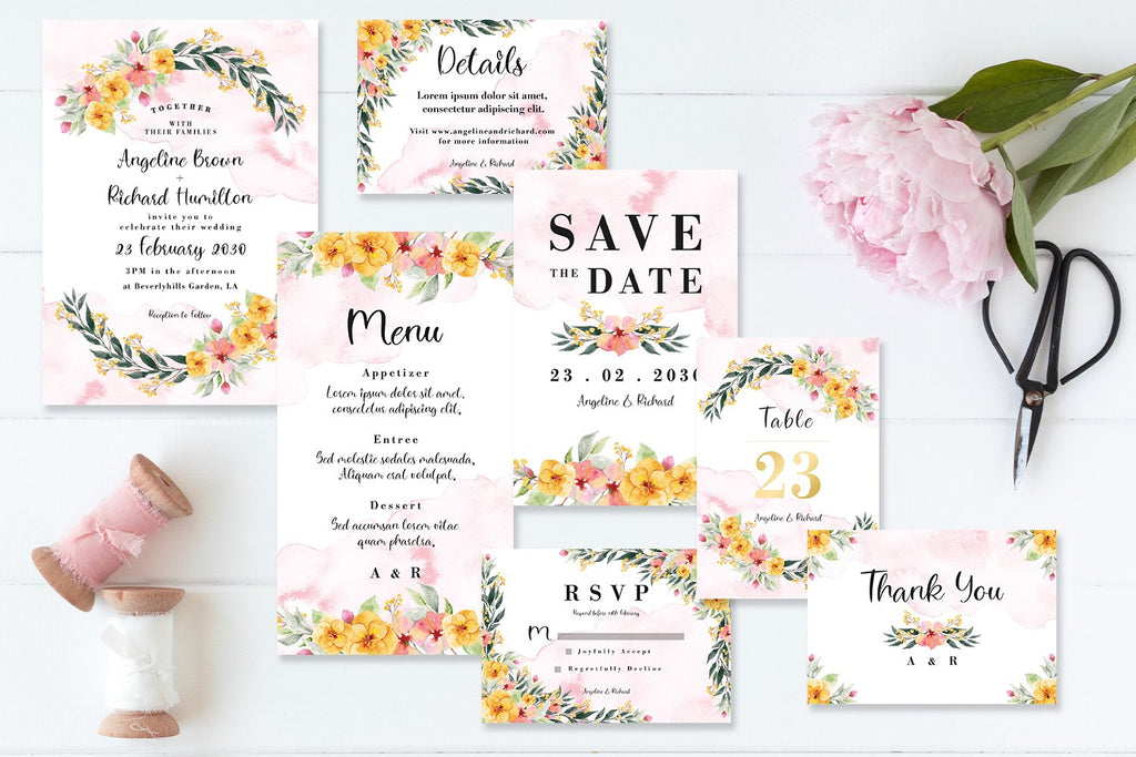Cute Abstract Floral Garden - Wedding Invitation Set