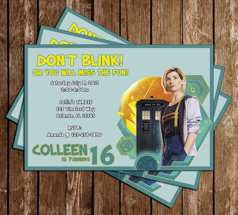 Doctor Who - Female Doctor - Birthday Invitation