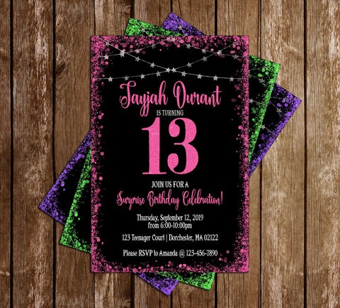 13th Birthday - ANY COLOR - Glitter - Birthday Party - Invitation