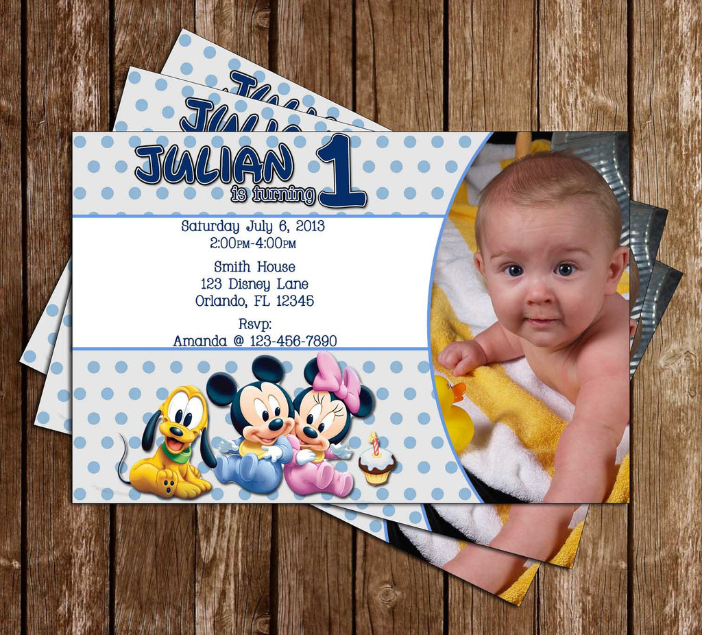 Disney Baby Mickey / Minnie Birthday Invitation