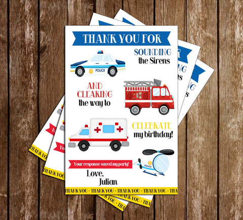 1st Responder - Police, Fire Truck & Ambulance - Birthday Party - Thank You Card