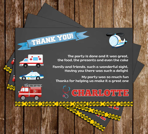 1st Responder - Police, Fire Truck & Ambulance - Chalk - Thank You Card