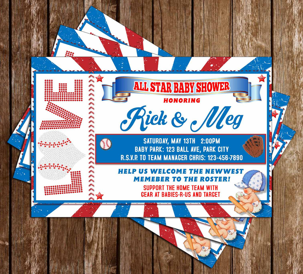 Baseball - Little Slugger - Baby Shower Invitation