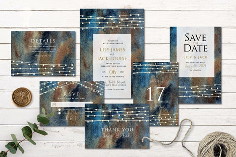 String Lights Wedding - Invitation Set