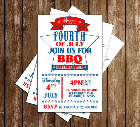 4th of July BBQ - Star - Party Invitation