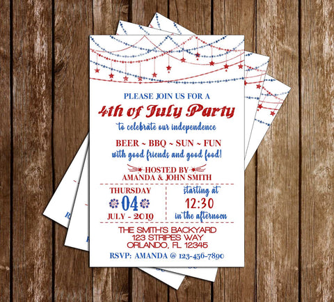 4th of July BBQ - Garlands - Party Invitation