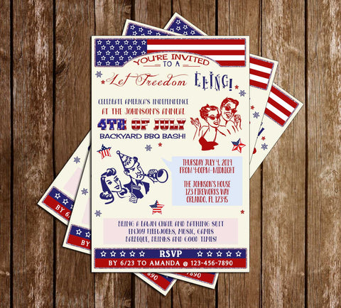 4th of July BBQ - Kitschy - Party Invitation