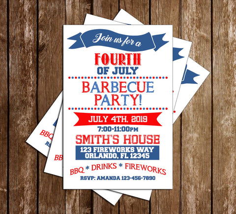 4th of July BBQ - Tall Dots - Party Invitation