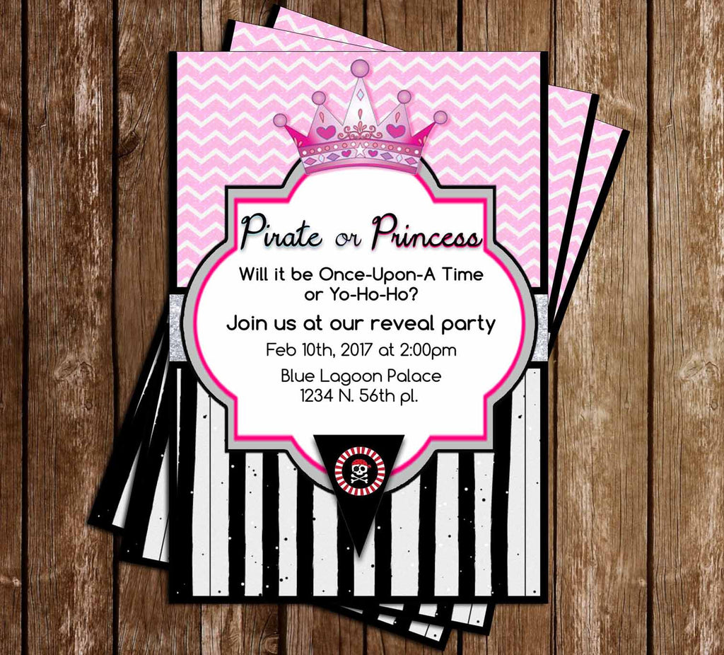 Pirate or Princess - Gender Reveal - Baby Shower - Invitation