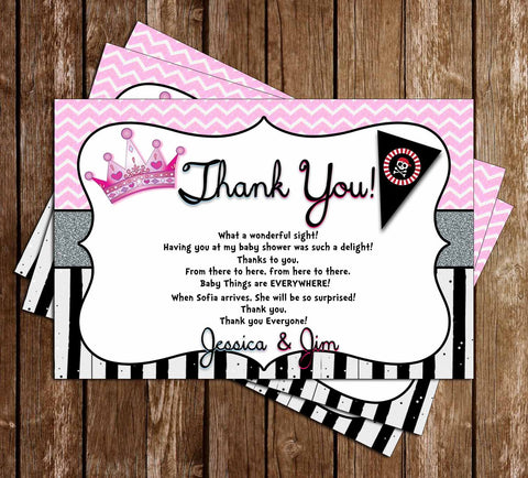 Gender Reveal - Pirate or Princess - Thank You Card