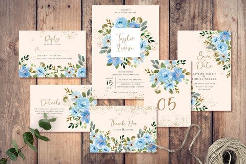 Blue Flower - Watercolor - Wedding Invitation Set