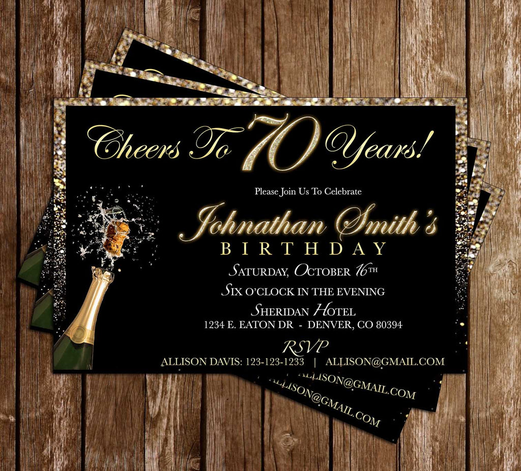 70TH Birthday - Birthday Party - Invitation