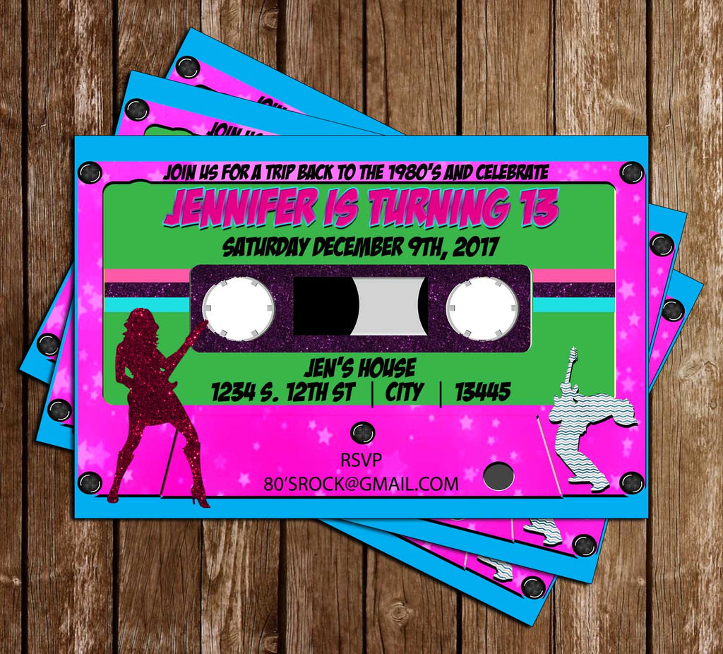 novel concept designs neon party 80 s birthday party invitation