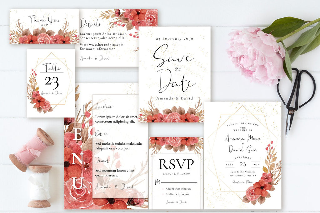 Vintage Red Rustic Flowers - Wedding Invitation Set