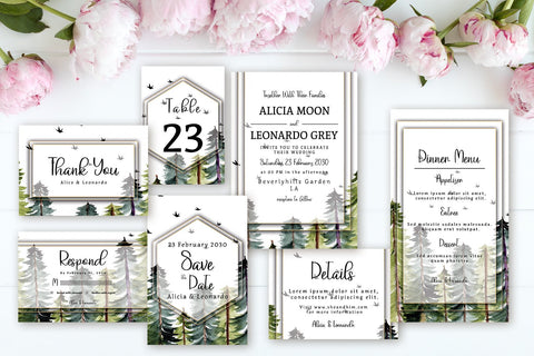 Beautiful Pine Forest With Birds - Wedding Invitation Set