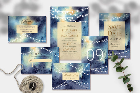String Lights Night Party - Wedding Invitation Set