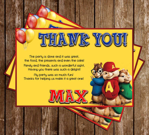 Alvin and the Chipmunks - Movies - Birthday Party - Thank You Card